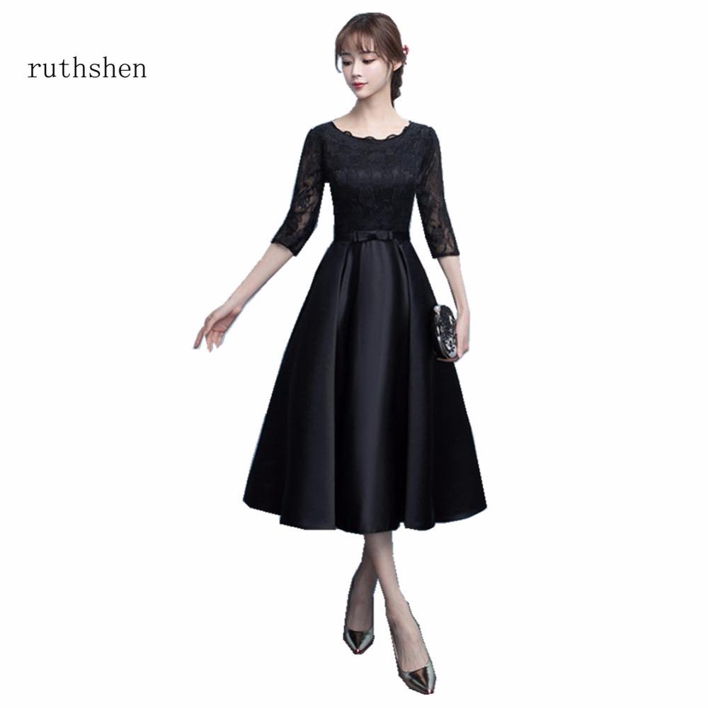 [해외]ruthshen 짧은 무릎 길이 칵테일 드레스 하프 슬리브 레이스 블랙 파티 드레스 여성을특별 행사 Vestidos Coctel/ruthshen Short Knee Length Cocktail Dresses Half Sleeves Lace Black Party