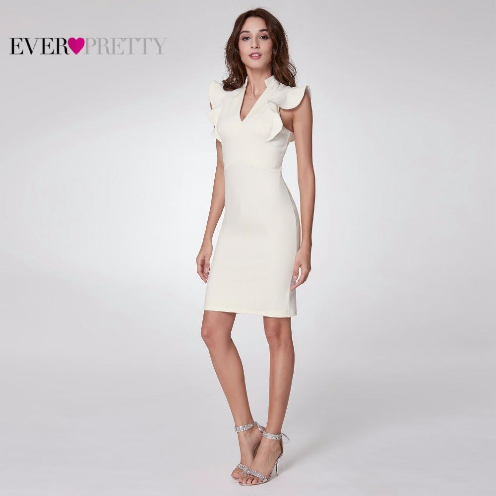 [해외]적 꽤 2018 여성 우아한 칵테일 드레스 라인  장식 V- 넥 민Retail 화이트 파티 클럽 칵테일 드레스 EP05967WH/Ever Pretty 2018 Women Elegant Cocktail Dresses A Line Ruffles V-Neck Slee