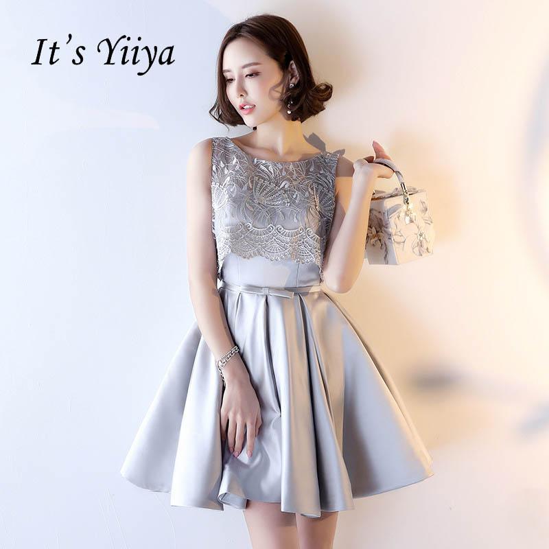 [해외]그것 & s YiiYa 레이스 최대 새로운 환상 꽃 나비 레이스 Draped 저녁 드레스 칵테일 드레스 무릎 길이 공식 드레스 파티 드레스 LX179/It&s YiiYa Lace Up New Illusion Flower Bow Lace Draped Din