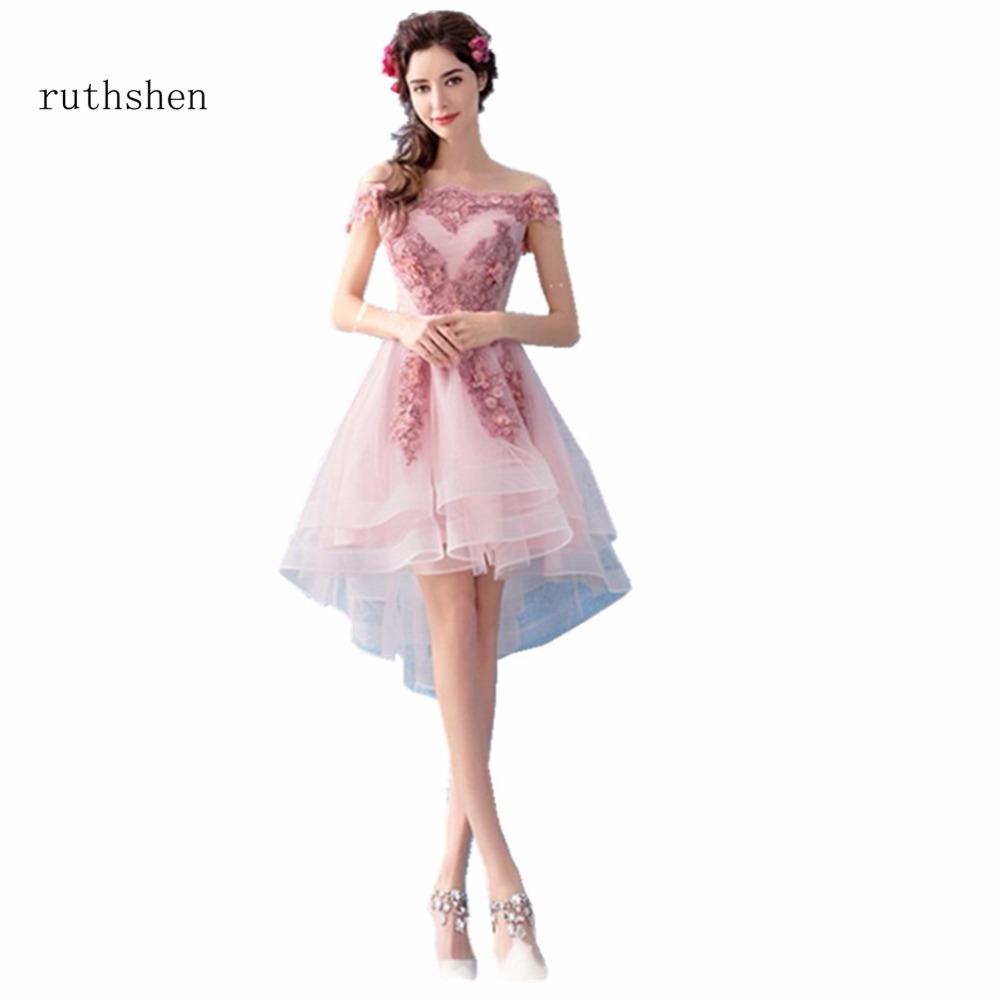 [해외]ruthshen 보트 목 짧고 높은 낮은 칵테일 드레스는 어깨에서 벗어난 라인 페르시 아플리케 파티 드레스 Vestidos Coctel 2018/ruthshen Boat Neck Short High Low Cocktail Dresses Off The Should