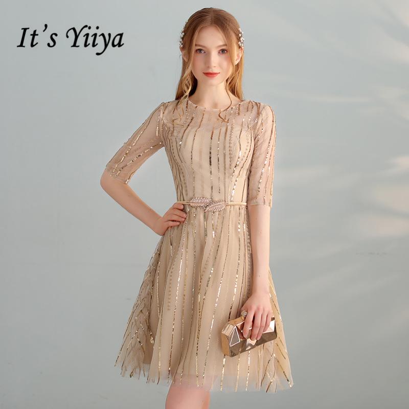 [해외]It'sYiiYa 2018 Hot O-Neck 패션 디자이너 섹시 한 환상 우아한 칵테일 가운 블 링 Sequind 슬림 칵테일 복장 LX324/It&s YiiYa 2018 Hot O-Neck Fashion Designer Sexy Illusion Ele