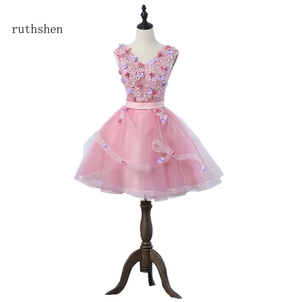 [해외]ruthshen 2018 칵테일 드레스 여성 & 패션 V 넥 라인 민Retail appliques 파티 댄스 파티 드레스 새로운 도착/ruthshen 2018 New Arrivals Cocktail Dresses Women&s Fashion V Neck