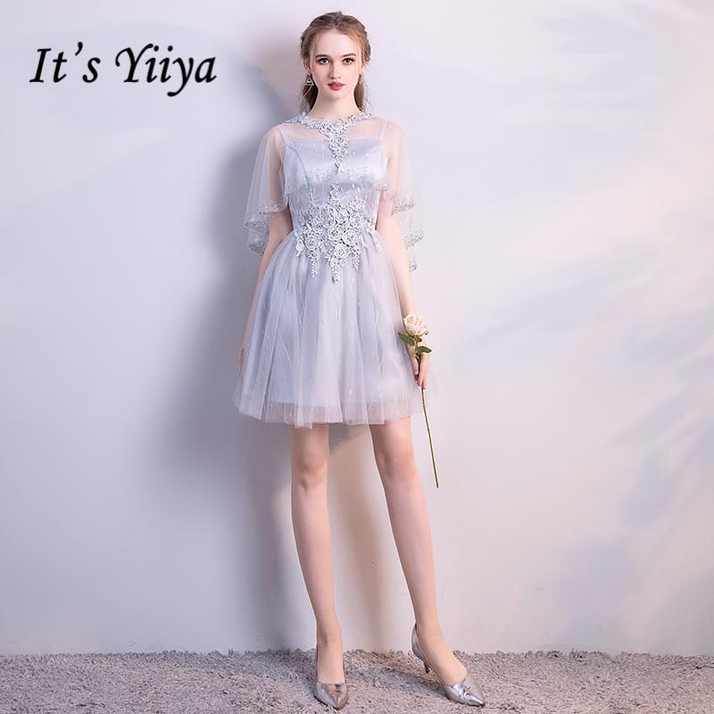 [해외]It & YiiYa Illusion Cap S 짧은 Retail 아플리케 레이스 칵테일 드레스 무릎 길이 공식적인 드레스 파티 드레스 LX163/It&s YiiYa Illusion Cap S Short Sleeve Appliques Lace Cocktai