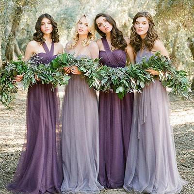 [해외]2016 Vestidos De Novia 파스텔 불일치 자주색 라벤더 신부 들러리 드레스 빈티지 Vestido De Festa Longo 아름다운 플러스 사이즈/2016 Vestidos De Novia Pastel Mismatched Purple Lavender