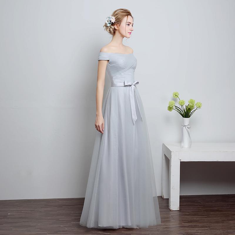 [해외]CrissCross Strapless A 라인 실버 그레이 롱 보우 Sash Draped Layered Bridesmaid Gown 단순한 우아한 롱 드레스 C78LF801SC/CrissCross Strapless A Line Silver Grey Long Bo