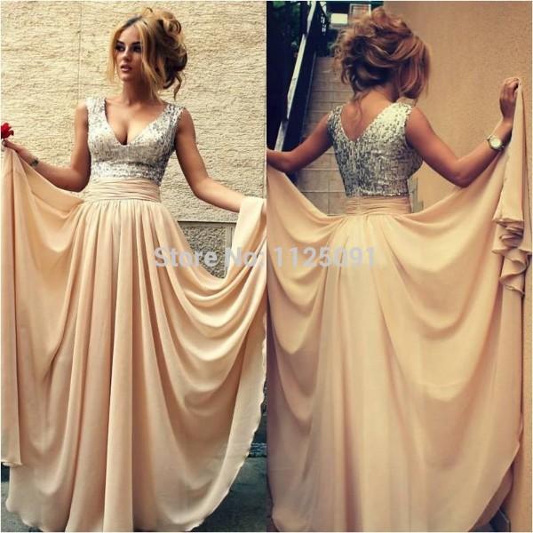 [해외]뜨거운 2017 A 라인 딥 V 넥 바닥 길이 샴페인 쉬폰 스팽글 긴 들러리 드레스/Hot 2017 A-line Deep V-neck Floor Length Champagne Chiffon Sequins Long Bridesmaid Dresses
