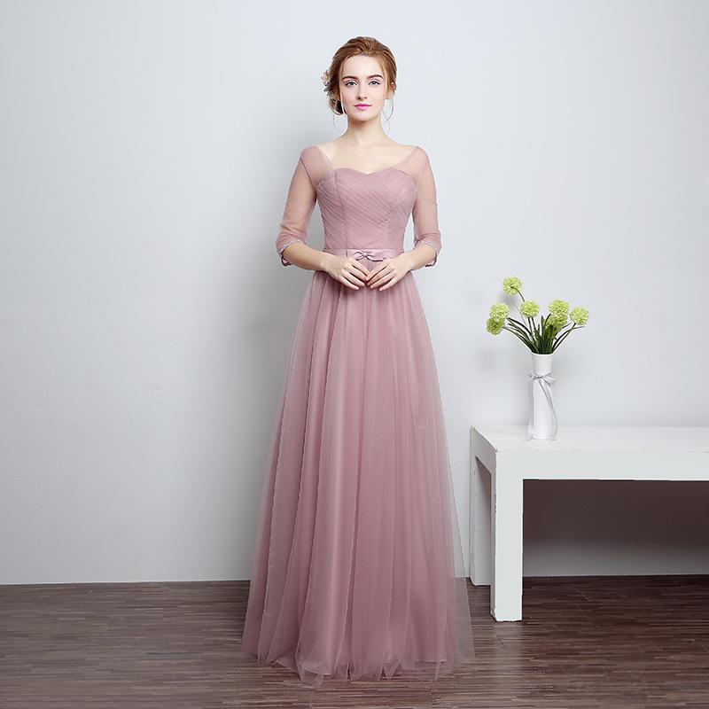 [해외] 2017 새로운 실제 사진 오 목 얇은 명주 보라색 녹색의 들러리 드레스 긴 파티 가운 LF801 - 1/Free shipping 2017 new Real Photo O-neck Tulle Purple Green Bridesmaid dresses Long Pa