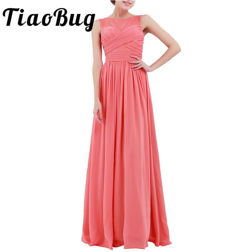 [해외]TiaoBug 산호 살구 여성 숙녀 시폰 레이스 신부 들러리 복장 긴 prom 가운 플러스 크기 바닥 길이 파티 들러리 드레스/TiaoBug Coral Apricot Women Ladies Chiffon Lace Bridesmaid Dress Long Prom