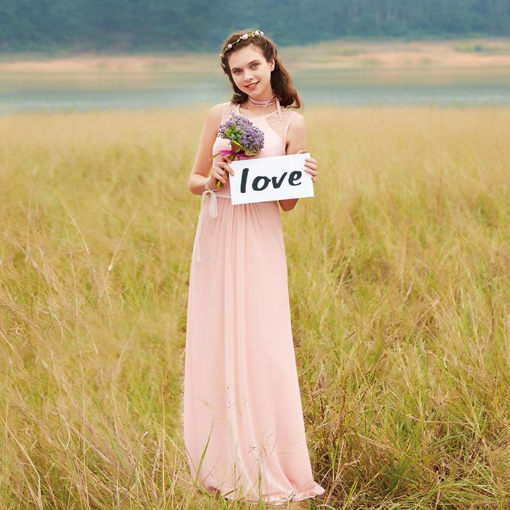 [해외]신부 들러리 드레스 EP08742 핑크 복숭아 여성 우아한 쉬폰 제국 민Retail 레이스 플러스 크기 긴 들러리 드레스/Bridesmaid Dresses EP08742 Pink Peach Women Elegant Chiffon Empire Sleeveless