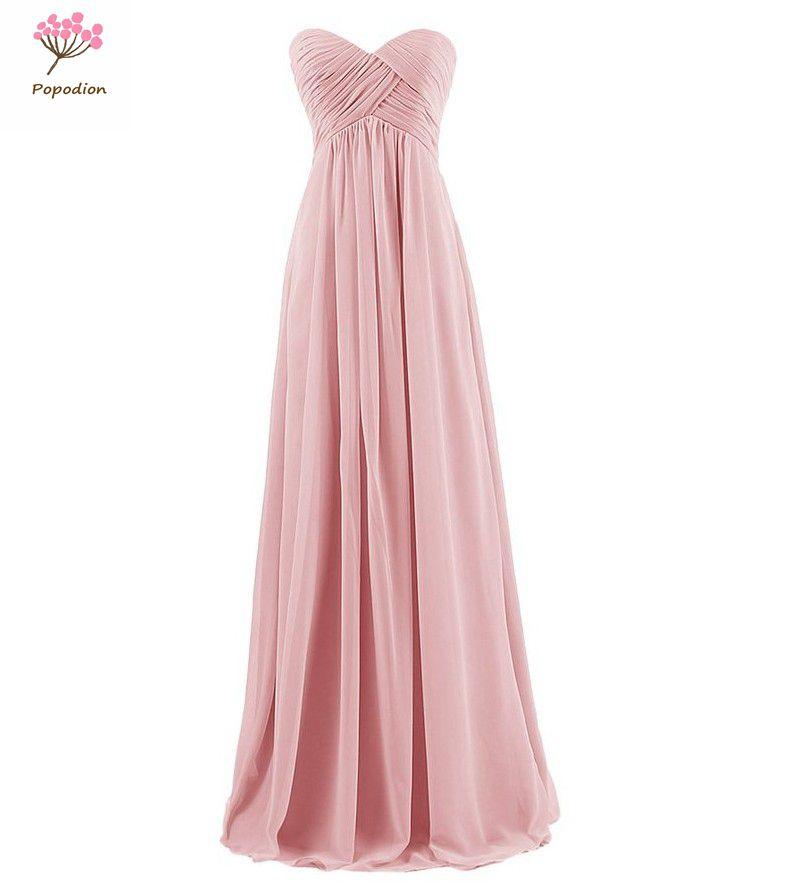 [해외]결혼식 손님 자매 파티 드레스 시폰 무도회 드레스 오랫동안 Popodion strapless 크기 신부 들러리 드레스 오랫동안 ROM80107/Popodion strapless plus size bridesmaid dresses long for wedding g