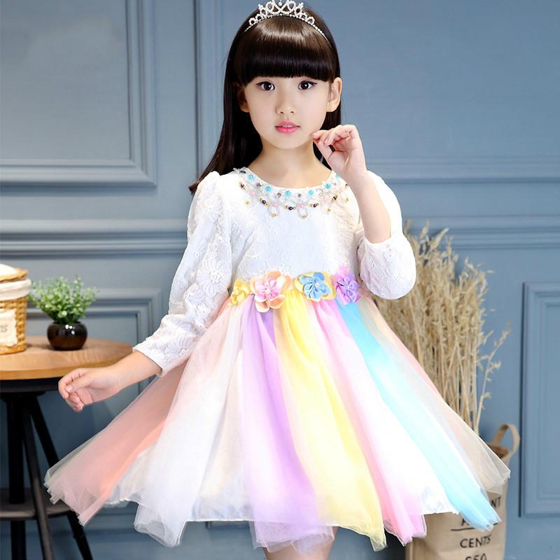 [해외]2017 새로운 웨딩 플라워 소녀 꽃잎 복장 어린이 들러리 들러리 레이스 복장 선발 무대 의상 히트 컬러 레인보우 복장/2017 New wedding Flower Girl Petals Dress Children Bridesmaid Toddler lace Dres