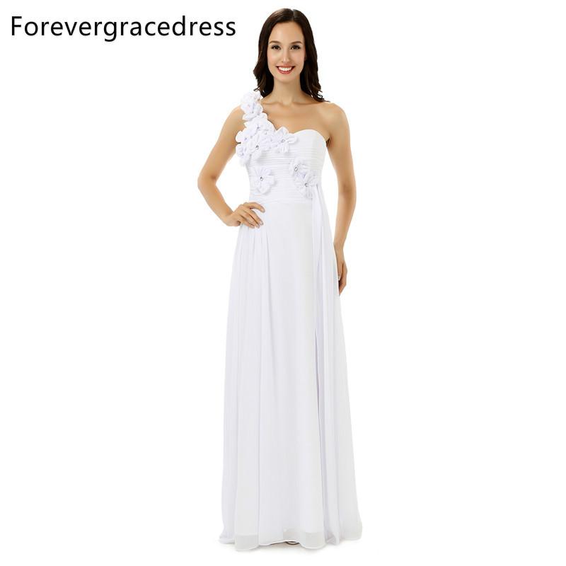 [해외]Forevergracedress 진짜 사진 백색 신부 들러리 복장 한 어깨 시폰 LongLace 위로 뒤 결혼식 당 복장 플러스 크기/Forevergracedress Real Pics White Bridesmaid Dress One Shoulder Chiffon