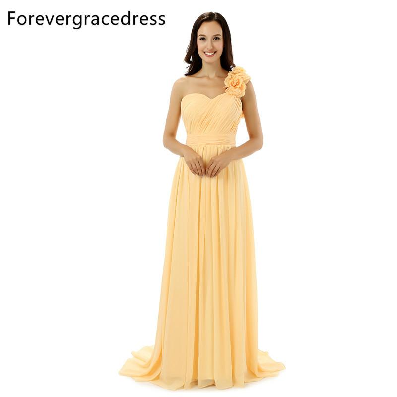 [해외]Forevergracedress 리얼 사진 옐로우 웨딩 드레스 심플 라인 시폰 원 숄더 웨딩 파티 드레스 플러스 사이즈/Forevergracedress Real Photos Yellow Bridesmaid Dress Simple A Line Chiffon One
