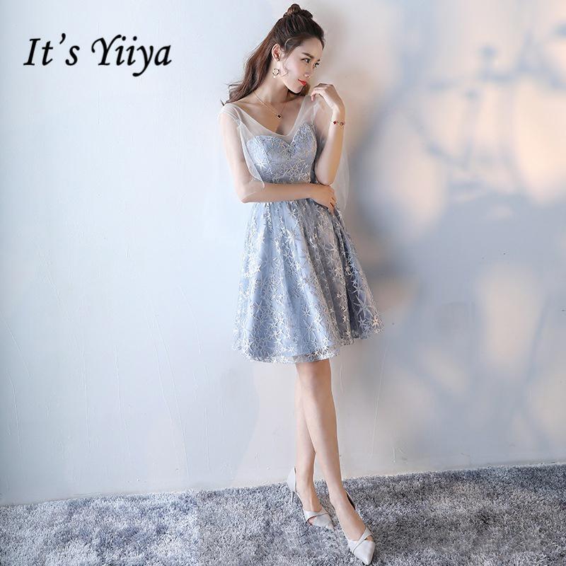 [해외]그것은 & YiiYa 2017 핫 하프 슬리브 V - 넥 신부 들러리 드레스 꽃 패턴 보우 자수 우아한 Iluusion Tulle는 X023을 Frocks/It&s YiiYa 2017 Hot Half Sleeve V-Neck Bridesmaid Dress