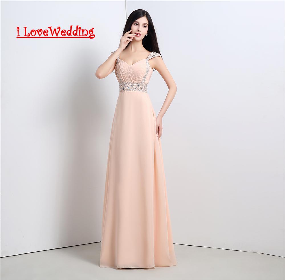 [해외]iLoveWedding 재고 새로운 라인 긴 쉬폰 신부 들러리 드레스 레이스 BackCrystal 여성 공식 예복 가운 16112/iLoveWedding Stock New A-line Long chiffon Bridesmaid Dresses Lace up Bac