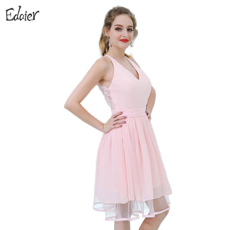 [해외]저렴한 신부 들러리 드레스 2017 라인 V 목 탱크 무릎 길이 레이스 쉬폰 짧은 들러리 드레스 핑크 웨딩 파티 드레스/Cheap Bridesmaid Dresses 2017 A Line V Neck Tank Knee Length Lace Chiffon Short