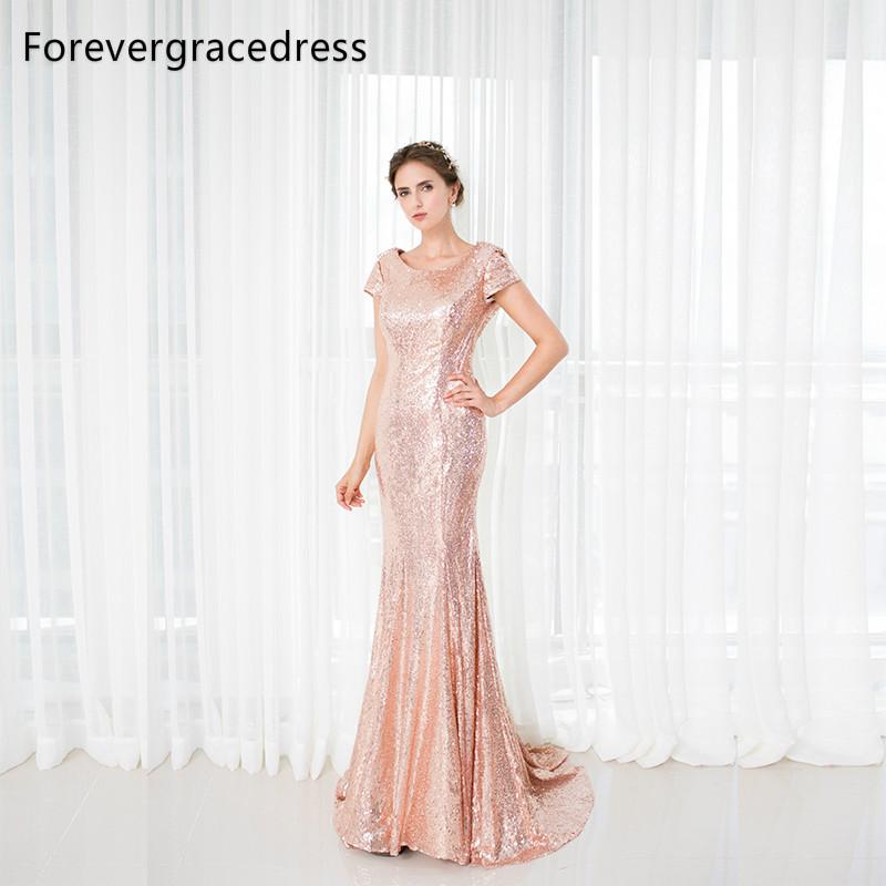 [해외]Forevergracedress 로즈 골드 장식 조각 들러리 드레스 롱 카울 뒤 웨딩 파티 드레스 플러스 크기 맞춤 제작/Forevergracedress Rose Gold Sequins Bridesmaid Dress New Arrival Long Cowl Bac