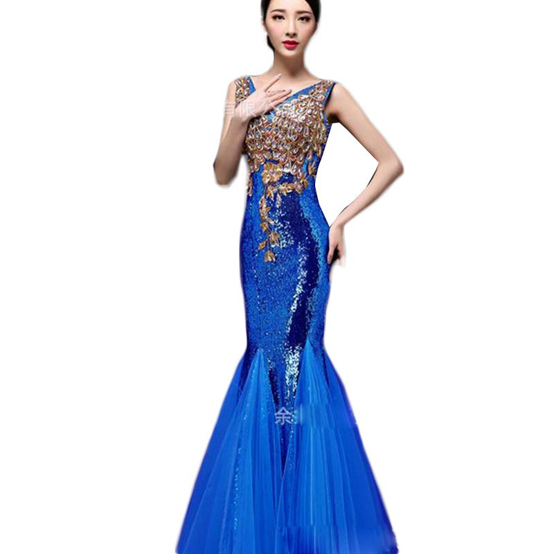 [해외]큰 사이즈의 섹시한 V - 목 슬림 이브닝 드레스 S-2XL 크리스털 스팽글 머메이드 이브닝 가운 가운 De Soiree Longue 2016 CK50/Sexy V-neck Slim Evening Dresses Of Large Sizes S-2XL Crystal