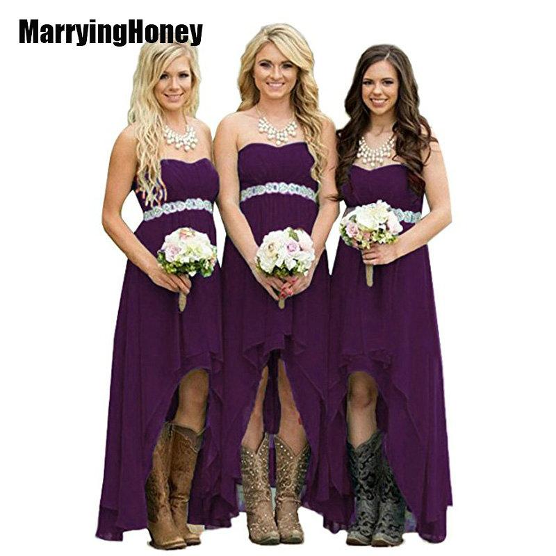 [해외]여성 낮은 낮은 신부 들러리 드레스 긴 결혼식 손님 안녕하세요 낮은 제국 Prom 가운 보석 사장님 vestido madrinha longo marsala/Women High Low Bridesmaid Dresses Long Wedding Guests Hi Lo