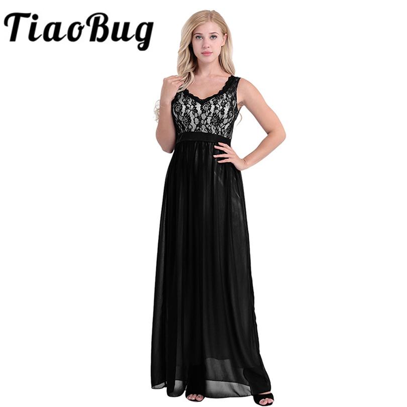 [해외]여자 숙녀 우아한 민Retail V 넥 시폰 신부 들러리 드레스 수 놓은 레이스 꽃 백 레스 공식 긴 결혼식 파티 드레스/Women Ladies Elegant Sleeveless V Neck Chiffon Bridesmaid Dress Embroidered La