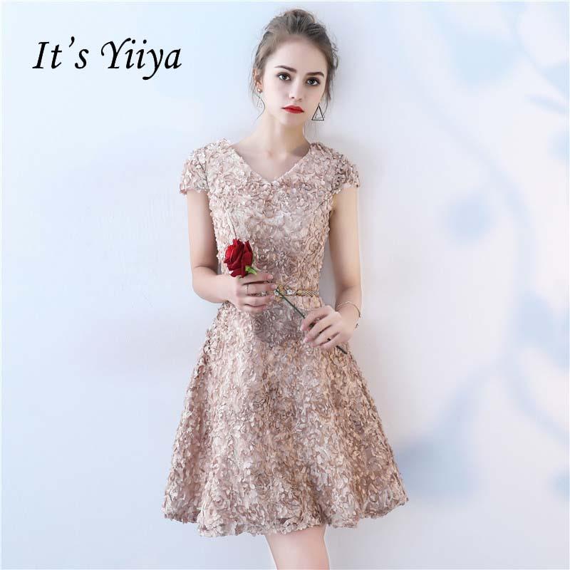 [해외]그것은 & YiiYa 새로운 V - 목 반팔 꽃 빈티지 무릎 길이 저녁 신부 들러리 드레스 지퍼 파티 짧은 정장 드레스 YS037/It&s YiiYa New V-neck Short Sleeves Flowers Vintage Knee Length Dinne