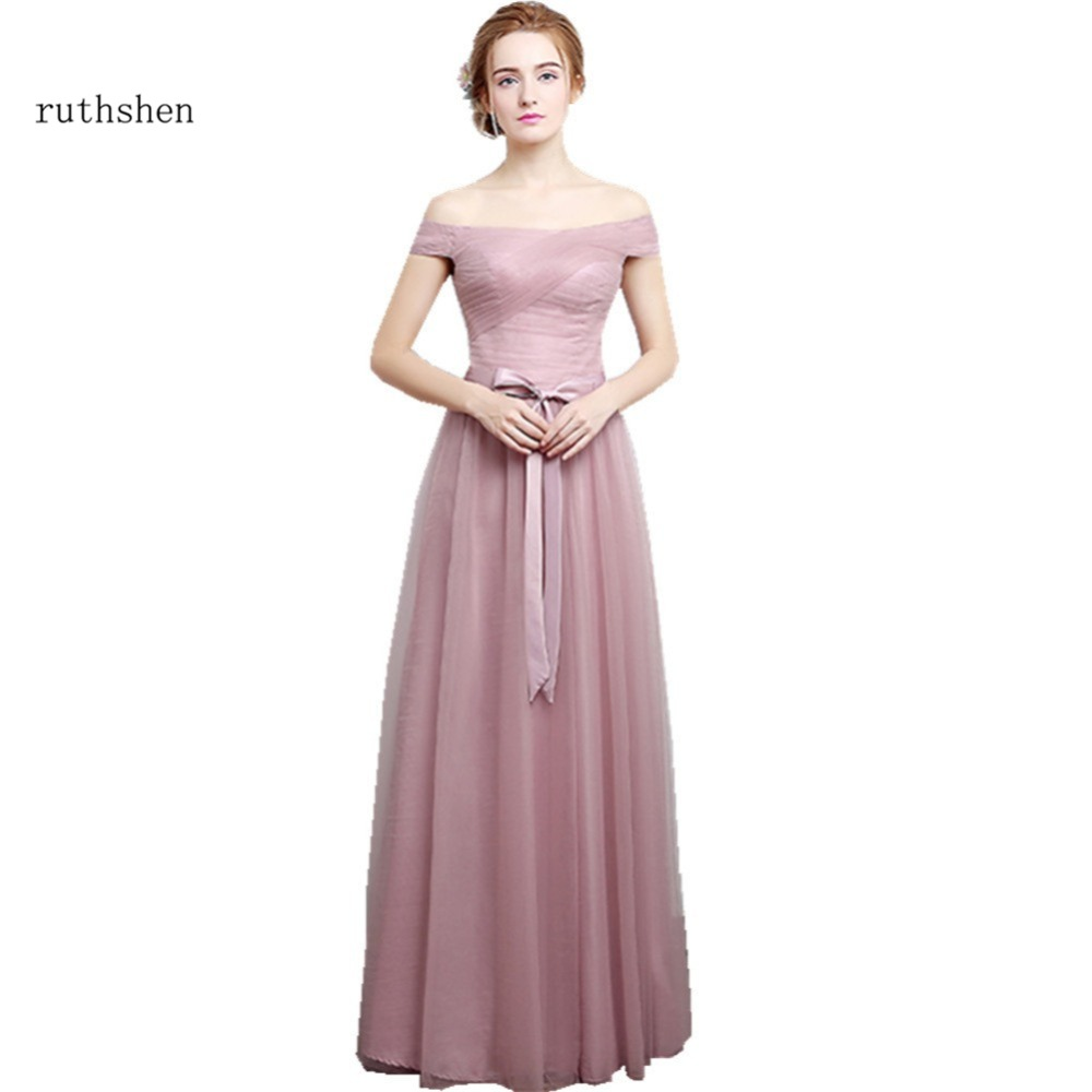 [해외]ruthshen 2018 새로운 신부 들러리 드레스 긴 Pleated 핑크 / 실버 Tulle 신부 메이드 웨딩 파티 드레스 긴 오프/ruthshen 2018 New Bridesmaid Dresses Long Off Shoulder Pleated Pink / S