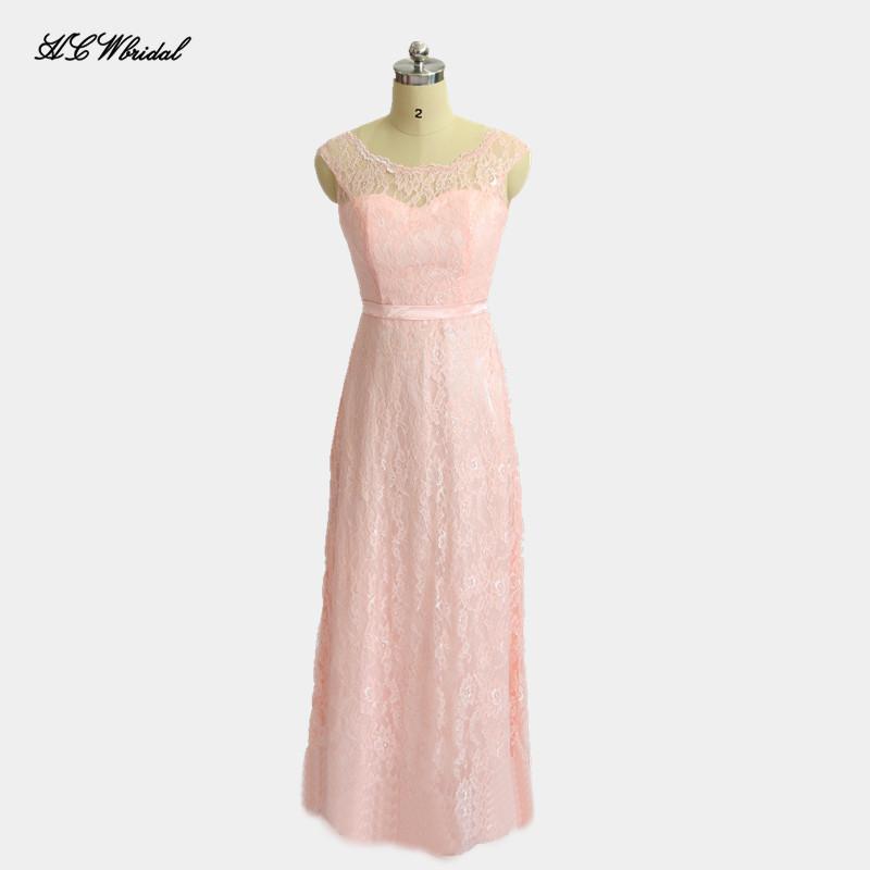 [해외]핑크 레이스 신부 들러리 드레스 Scalloped 목 라인 층 길이 간단한 롱 메이드 명예 드레스 2018 저렴한 웨딩 파티 가운/Pink Lace Bridesmaid Dress Scalloped Neck A Line Floor Length Simple Long