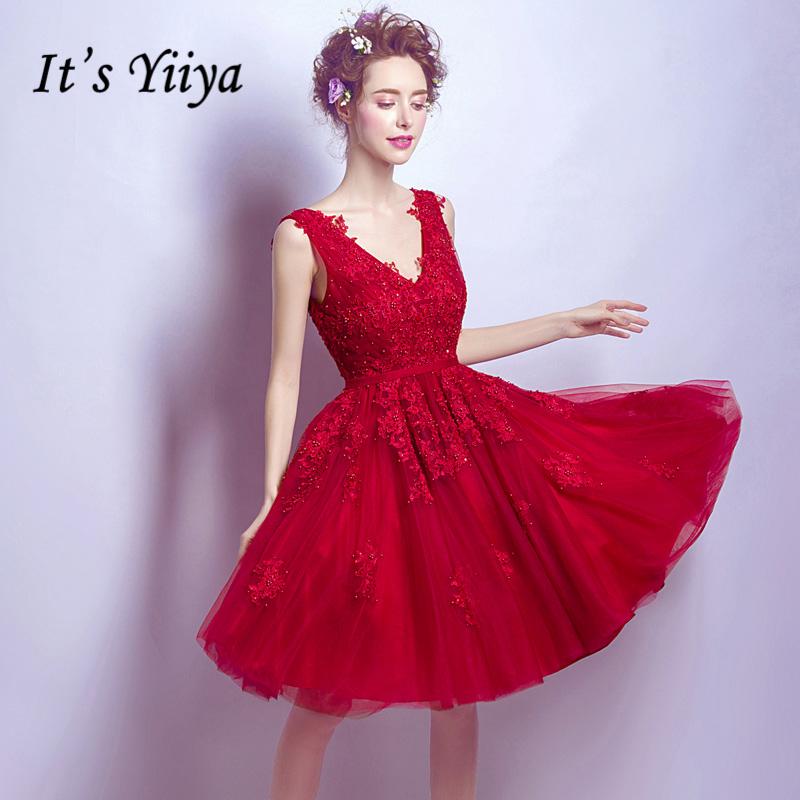 [해외]그것은 & YiiYa 새로운 레드 V - 목 민Retail 간단한 자수 무릎 길이 저녁 신부 들러리 드레스 파티 짧은 정장 드레스 LX228/It&s YiiYa New Red V-Neck Sleeveless Simple Embroidery Knee Len