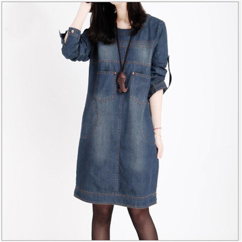 [해외]여성 의류 2016 봄 새로운 큰 크기 청바지 드레스 여성 빈티지 긴 Retail 데님 드레스 여성 vestidos femininos L432/Women Clothing 2016 Spring New Big Size Jeans Dress Woman Vintage