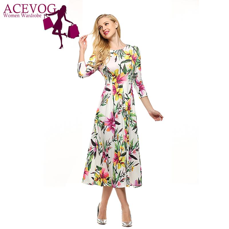 [해외]ACEVOG 브랜드 S - XXL 여성 드레스 레트로 빈티지 로커 빌리 꽃 인쇄 여름 드레스 ElegantTunic Vestidos 스윙/ACEVOG Brand S - XXL Women Dress Retro Vintage  Rockabilly Floral Pri