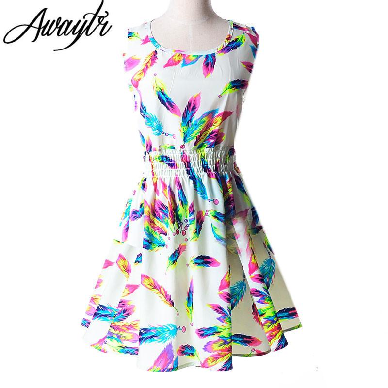 [해외]2016 새로운 여름 여성 복장 캐주얼 민Retail 쉬폰 스트 라이프 꽃 프린트 드레스 Vestidos Femininos 비치 드레스 플러스 XXL/2016 New Summer Women Dress Casual Sleeveless Chiffon Stripe F