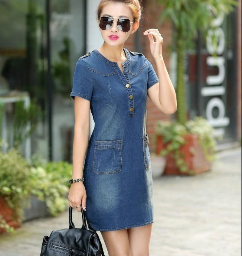 [해외]2016 여름 한국 데님 여성 dressshort Retail 느슨한 대형 v 목걸이 여성용 플러스 사이즈 176A 45 얇은 드레스/Summer 2016 Korean denim female dressshort sleeves loose large size v-n