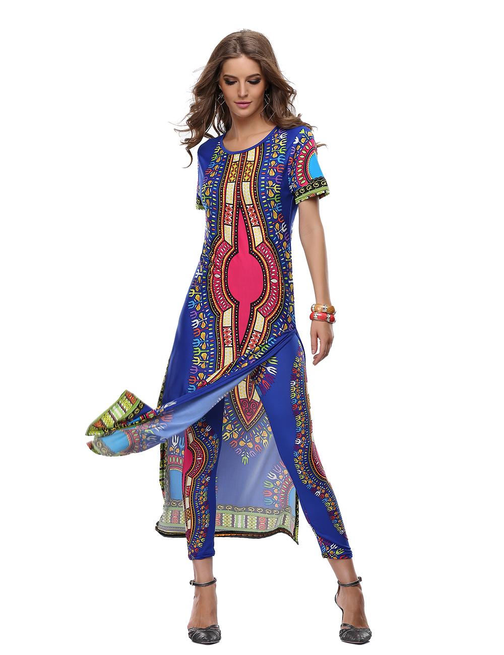 [해외]아프리카 대시키 드레스 대시 키 드레스 여름 맥시 롱 투피스 셔츠 드레스 섹시한 로브 길이 femme ete vestidos 2017/African Dashiki Dresses For Women Dashiki Dress Summer Maxi Long Two Pi