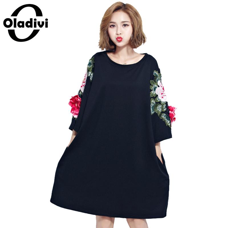 [해외]Oladivi 2017 봄 여름 꽃 수 놓은 복장 여자 목화 O 넥 패션 파티 드레스 플러스 크기 Vestidos 6XL/Oladivi 2017 New Arrival Spring Summer Flower Embroidered Dress Women Cotton O