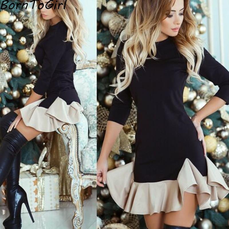 [해외]BornToGirl 가을 겨울 캐주얼 높은 허리 바느질 복장 여자 3 쿼터 슬리브 O-neck 블랙 우아한 드레스 가운 femme/BornToGirl Autumn Winter Casual High Waist Stitching Dress Women Three Qu