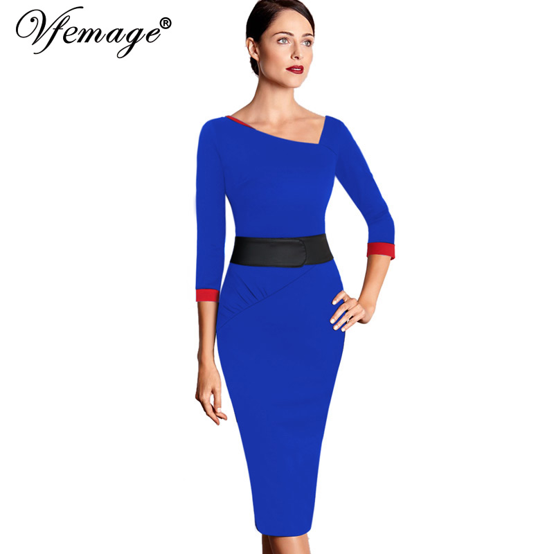 [해외]Vfemage Womens Asymmetric Neck Ruched Vintage 우아한 콘트라스트 튜닉 착용 비즈니스 파티 장착 시즈 캐주얼 드레스 1908/Vfemage Womens Asymmetric Neck Ruched Vintage Elegant Con