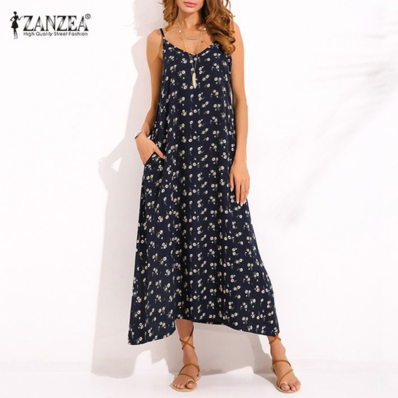 [해외]ZANZEA 빈티지 여성 V 넥 스파게티 스트랩 민Retail 여름 해변 복장 Boho Maxi Long Dress Sexy Sundress Vestido Oversized/ZANZEA Vintage Women V Neck Spaghetti Strap Sleev