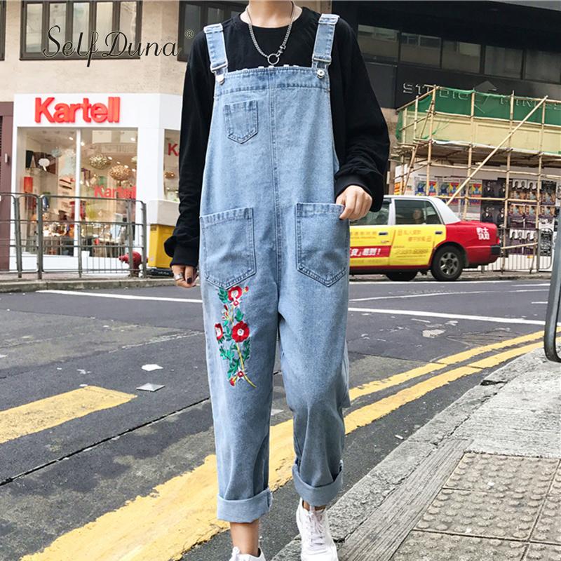 [해외]셀프 듀오 2017 가을 꽃 자수 데님 점프 슈트 여성 전체 바지 캐주얼 루스 여성 수 놓은 점프 슈트 로프/Self Duna 2017 Autumn Floral Embroidery Denim Jumpsuit Women Overall Pants Casual Loo