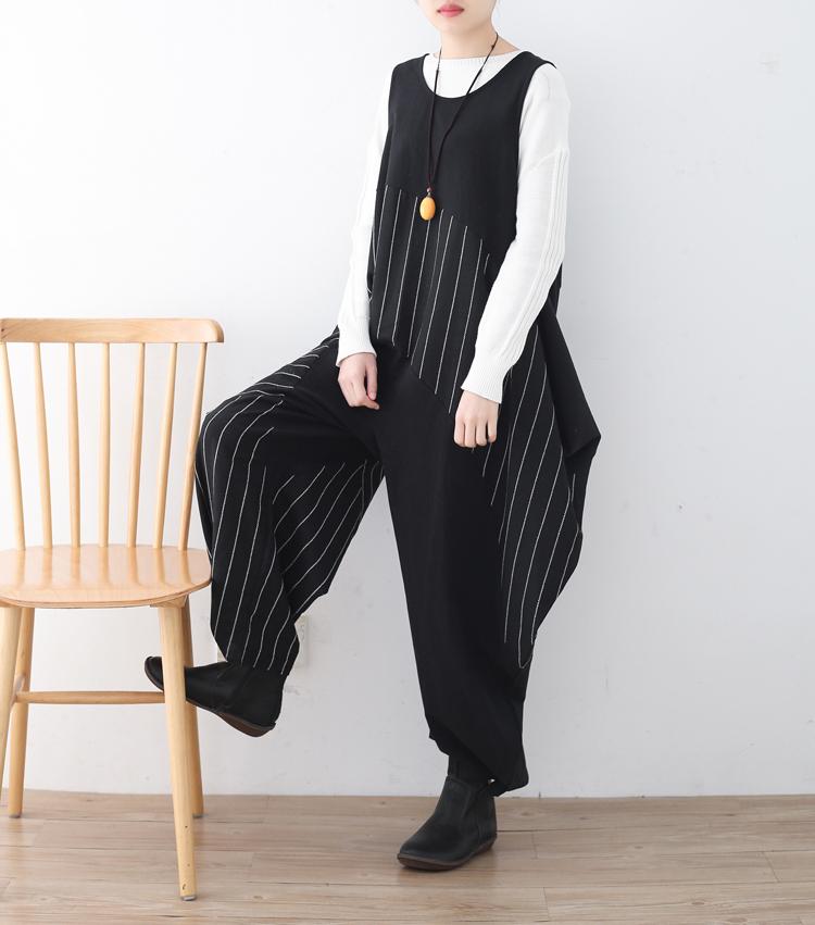 [해외]원래 와이드 레그 코튼 여성 빈티지 로퍼 2018 가을 봄 느슨한 스트라이프 포켓 점프 슈트 불규칙한 바디 슈트 팬티 펨므/Original Wide Leg Cotton Women Vintage Rompers 2018 Autumn Spring Loose Strip