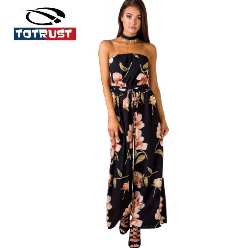 [해외]TOTRUST 플로랄 프린트 오프 숄더 점프 슈트 우아한 여성 2018 Romper Backless Playsuit Macaca 원피스 롱 시폰 오버 올 코트/TOTRUST Floral Print Off Shoulder Jumpsuit Elegant Women