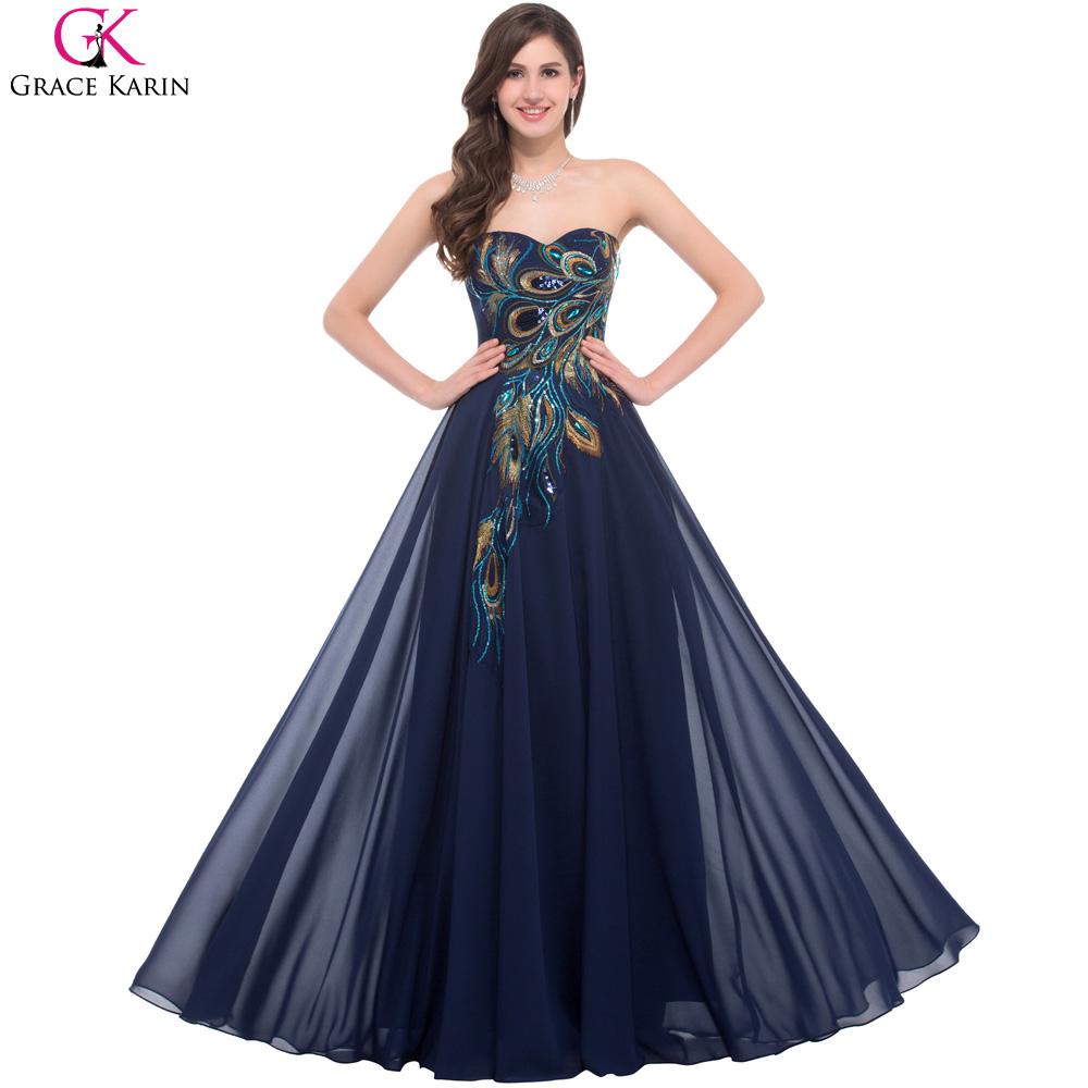 [해외]연인 공작 네이비 블루 퍼플 블랙 들러리 드레스 우아한 긴 그레이스 카린 아플리케 쉬폰 정장 드레스 파티 드레스/Sweetheart Peacock Navy Blue Purple Black Bridesmaid Dresses Elegant Long Grace Kar