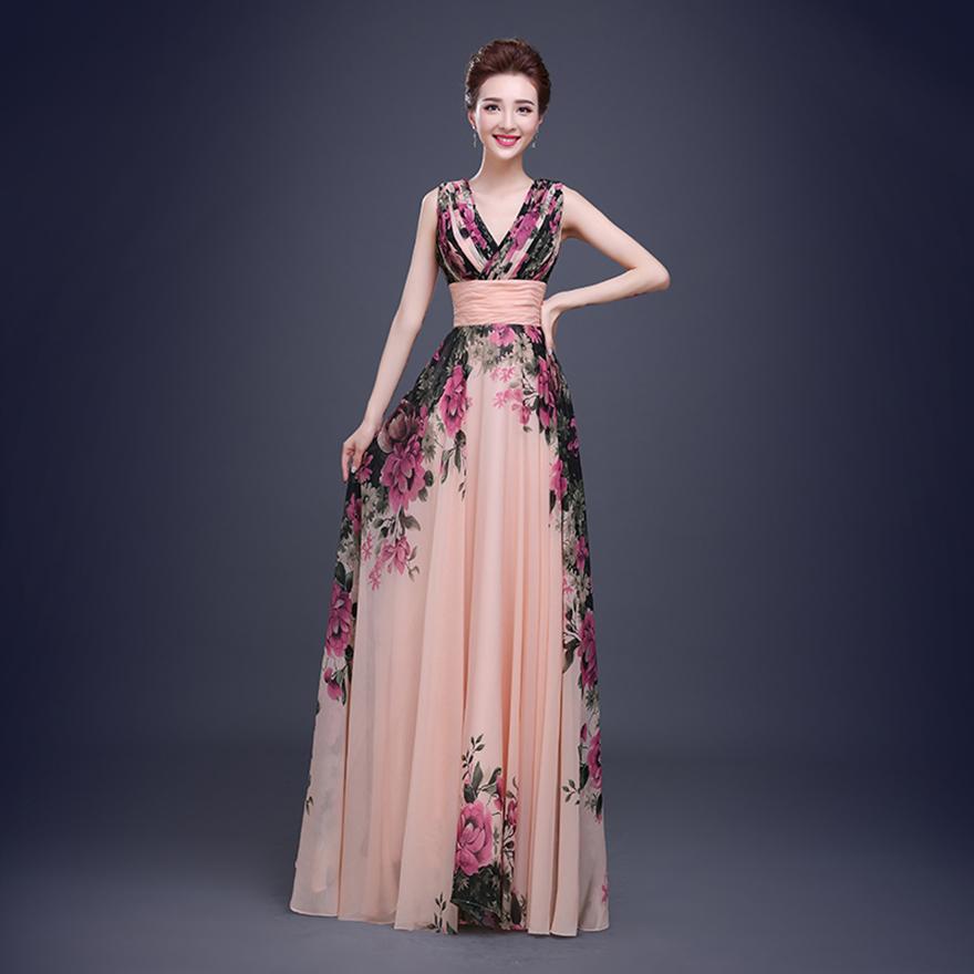 [해외]꽃 인쇄 저렴한 짧은 신부 들러리 드레스 정장 드레스 긴 신..