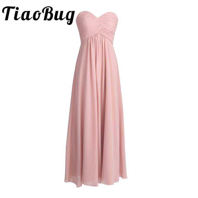 [해외]TiaoBug 우아한 2017 결혼식 공식 드레스 핑크 들러리 들러리 긴 쉬폰 드레스 신부 들러리 들러리 들러리 드레스들/TiaoBug Elegant 2017 Wedding Formal Dress Pink Bridesmaid Long Chiffon Dress V