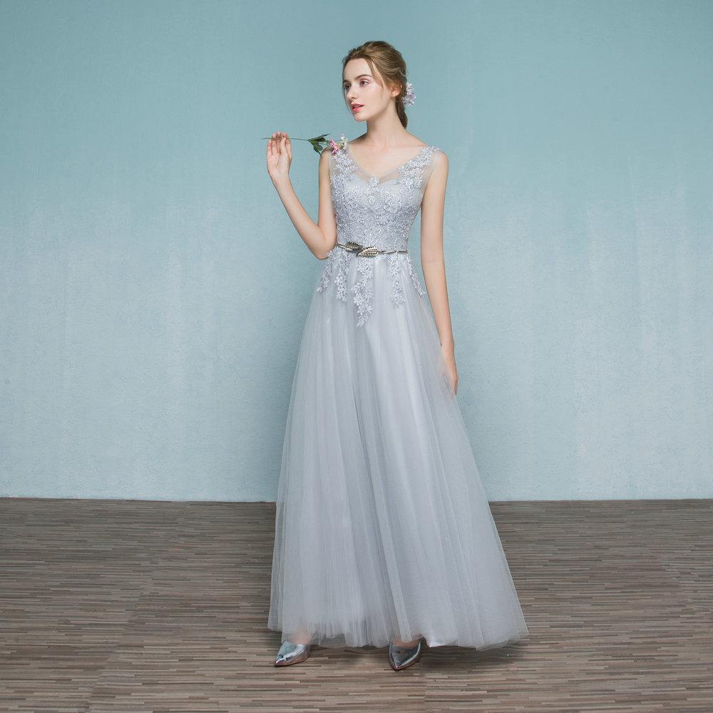 [해외]V- 목 민Retail Applique 들러리 드레스 라인 긴 들러리 파티 드레스 긴 들러리 드레스 긴 파티 드레스 (SL-B571)/V-Neck Sleeveless Applique Bridesmaid Dress A Line Long Bridesmaid Part