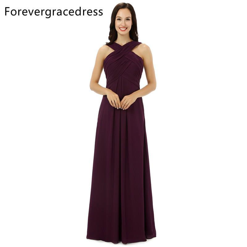 [해외]Forevergracedress 진짜 사진 부르고뉴 색상 들러리 드레스 단순한 라인 시폰 긴 뒤로 웨딩 파티 드레스 플러스 크기/Forevergracedress Real Pics Burgundy Color Bridesmaid Dress Simple A Line