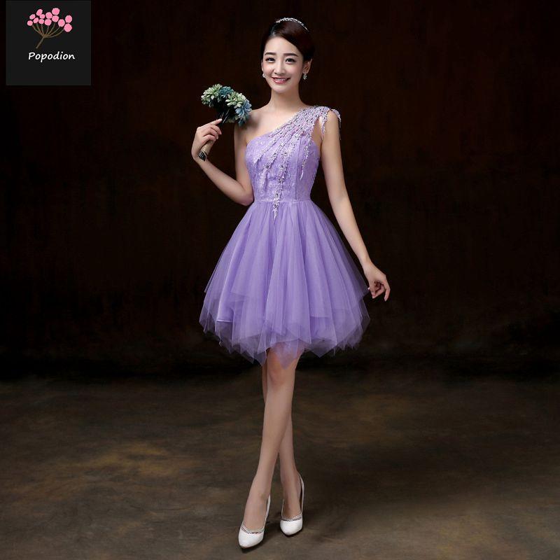 [해외]결혼식 손님을Popodion 여름 바이올렛 신부 들러리 드레스 한 어깨 드레스 여동생 파티 플러스 크기 무도회 드레스 ROM80114/Popodion summer violet bridesmaid dresses for wedding guests one should