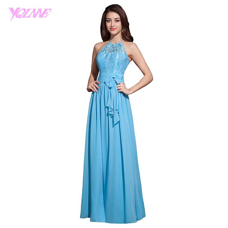 [해외]YQLNNE 블루 롱 시폰 신부 들러리 드레스 홀터 레이스 플레어 플로어 길이 웨딩 파티 드레스/YQLNNE Blue Long Chiffon Bridesmaid Dresses Halter Lace Pleats Floor Length Wedding Party Dr