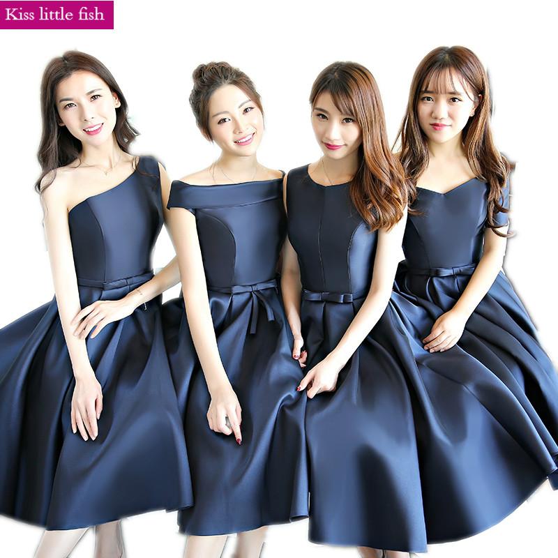 [해외] 2018 새로운 해군 파란색 짧은 신부 들러리 드레스 로브 demoiselle d & honneur pour femme/Free shipping 2018 New Navy blue short bridesmaid dresses Robe demoiselle