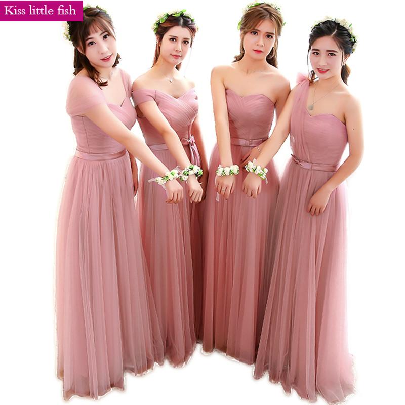[해외] 2018 신품 다크 핑크 롱 웨딩 드레스 웨딩 드레스 파티 용 샴페인 색상 /Free shipping 2018 New Dark pink long bridesmaid dresses Dress for wedding party  Have champagne colou