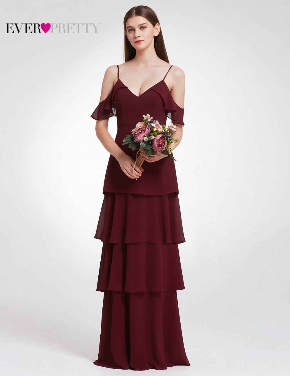 [해외]적 예쁜 여자 우아한 섹시한 긴 들러리 드레스 시폰 V 넥 안주인 공식 결혼식 파티 들러리 드레스/Ever Pretty Women Elegant Sexy Long Bridesmaid Dresses Chiffon V Neck Backless Formal Weddi